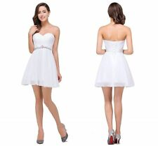 2016 Short Mini Homecoming Dress White Chiffon Evening Prom Party Cocktail Dress