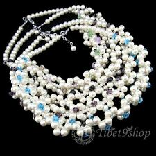 Special Offer, Blue Purple Black Fine Crystal Venetian Pearl Necklace XB809