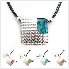 Special Offer, Coloured Glaze Silver Plated Square Pendant Earrings Set XC149