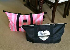 NEW VICTORIA'S SECRET PINK STRIPE OR BLACK WEEKENDER TOTE TRAVEL BAG PICK X1
