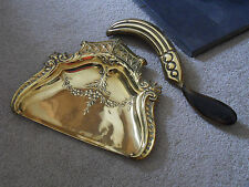 Antique solid brass crumb tray and brush set ( very ornate )