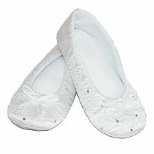 New Isotoner Womens Terry Lined Rose Quilted Ballerina Slippers