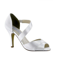 "Dyeable White Satin Prom Bridesmaid Bridal 3"" High Heel Wedding Peep Toe Shoe"