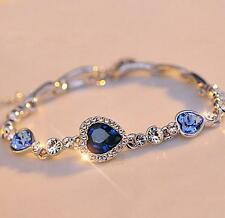 New Fashion Ladys Girls Blue Crystal Jewelry Silver Plated Charm Bracelet Bangle