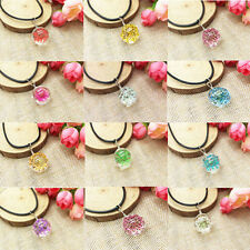 Fashion Glass Ball Necklace Crystal Chain Dried Real Flowers Pendant Jewelry