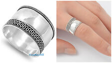 Sterling Silver 925 LADIES MEN'S BALI SILVER WITH ROPE DESIGN RING SIZE 5-12