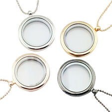 Floating Charm Living Memory Glass Round Locket Charms Pendant Necklace EC