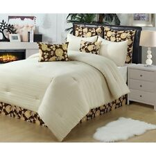 NEW Queen Cal King Bed Ivory Brown Yellow Floral 8 pc Comforter Set Elegant NWT