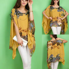 Summer Women Cool Chiffon Blouse Batwing Sleeve Floral Loose Shirts Tops