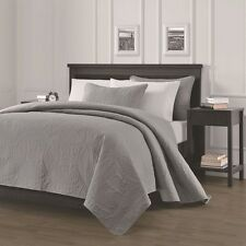 NEW Queen Cal King Size Bed Gray Grey Coverlet Quilt Bedspread 3 pc Set Blanket