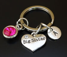 PERSONALIZED Big Sister Keychain - choose your Initial and Birthstone, Big Sis