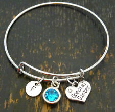 PERSONALIZED Special Sister Bangle Bracelet - choose your Initial and Birthstone