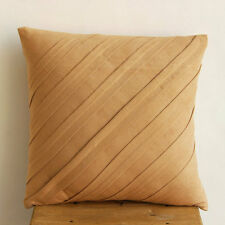 Textured Pintucks Beige Faux Suede 35x35 cm Cushions Cover - Contemporary Tan
