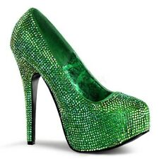 Bordello TEEZE-06R Shoes Green Satin-Iridescent Rhinestones Hidden Platform Heel
