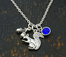 PERSONALIZED Squirrel Necklace - choose your Birthstone, Squirrel Girl, Oak