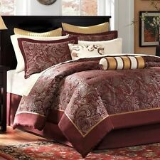 NEW Queen Cal King Bed Bag 12 pc Burgundy Gold Paisley Comforter Sheets Set NWT