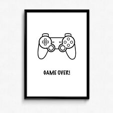 Playstation Controller Game Over - 5 More Minutes - Video Game Poster Print Gift