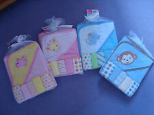 Baby gift set - Hooded Towel, 5 wash cloths/flannels - 4 designs - boy or girl