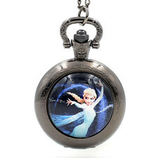 Frozen Elsa Quartz Pocket Watch Pendant Necklace Pocket&Fob Watches for Boy Girs