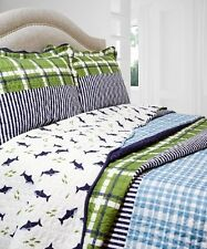 NEW Twin Full Queen King Size 3pc Blue Green Plaid Reversible Quilt Coverlet Set
