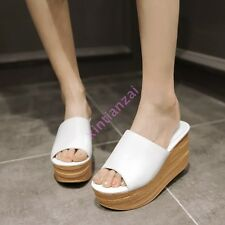 Slip on Womens Open Toe Platform Mules Slippers Shoes Wedge Heel Clogs Silver