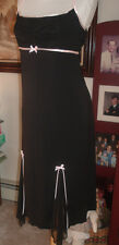 Byer Too designer black edged in pink dress ruched bodice Bust 34 M gorgeous