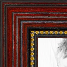 ArtToFrames 1 Inch Cherry with Gold Beads Wood Picture Poster Frame 80801 SM