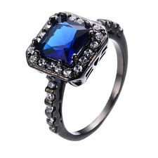 Size 6-10 Blue Sapphire Jewelry Women's10Kt Black Gold Filled Wedding Party Ring