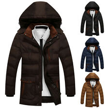 2016 New Mens Winter Warm Hooded Padded Coat Fleece Lined Zip Thick Jacket Parka