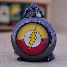 Movie The Flash Quartz Pocket Watch Analog Pendant Necklace Chain for Boys Girls
