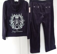 NWT JUICY COUTURE VELOUR HOODIE & BOOTCUT PANTS TRACKSUIT CREST REGAL BLUE Sz M