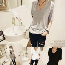 T-Shirt Tee Tops New V-neck Women Casual Slim Fashion Modal Solid color