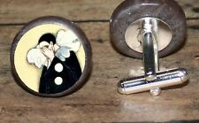 Crying PIERROT art marble Cuff Link or Tie Tack or Ring or Pendant or Pin