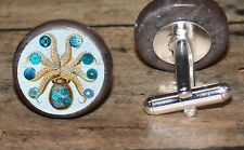 OCTOPUS Steampunk art marble Cuff Link or Tie Tack or Ring or Pendant or Pin