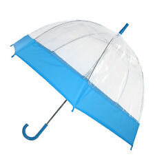 New iRain Clear Bubble Dome with Colored Trim Hook Handle Umbrella
