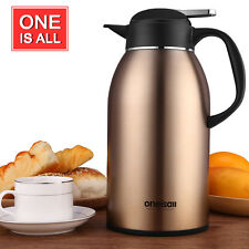 ONEISALL Stainless Steel Vacuum Flask Insulated Thermal Coffee Carafe Pot 2.2L