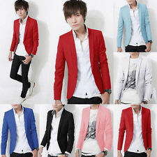 Men Stylish Slim Fit Casual Formal One Button Blazer Coat Short Jackets Suit Top
