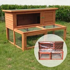 4FT ANCONA LARGE RABBIT HUTCH WITH RUN AND WOODEN PET HOUSE GUINEA PIG FERRET