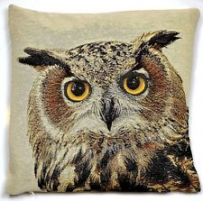 NATURAL STARING NIGHT OWL 18x18in WOVEN TAPESTRY CUSHION COVER - UK MADE 45x45c