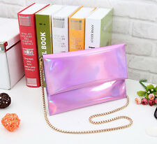 New Fashion Hologram Leatherette Handbag Clutch Purse IT bag With Gold Chain Hot