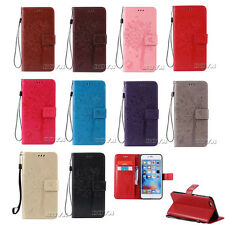 Wristlet PU Leather Case for iPhone Various Phones Stand Wallet Patterned Cover