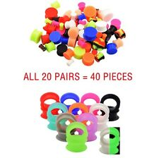 20PAIR- SILICONE EAR TUNNELS+GLOW IN DARK EAR GAUGES STRETCHER-DOUBLE FLARED