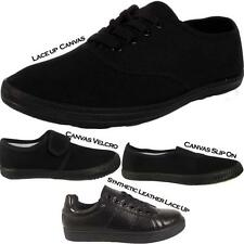 New Girls Back To School Womens Ladies Black Trainers Pumps Casual Shoes Sizes