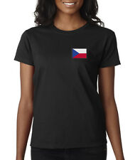Embroidered Czech Republic Country Pride Prague Europe Ladies T-Shirt S-2XL