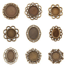 Antique Bronze Filigree Wrap Oval/Round Blank Tray Cabochon Settings Nickel Free
