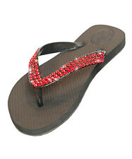 Luxury Crystal Blingy Beach or Fashion Flip Flops Black - 200+ Red Stones