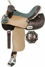 Barrel Saddle Teal Alligator Print Seat & Floral Tooling Barrel Racer Conchos!