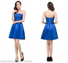 New Sexy Strapless Short Mini Homecoming Royal Blue Lace up Cocktail Party Dress