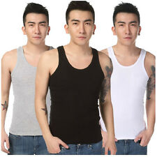 Trendy Men Sleeveless Plain Breathable Cotton Vest Tank Slim T-Shirts Muscle New