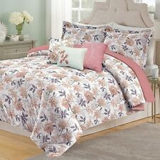 NEW Full Queen King Bed Pink Purple Tan White Floral 6 pc Comforter Set Elegant